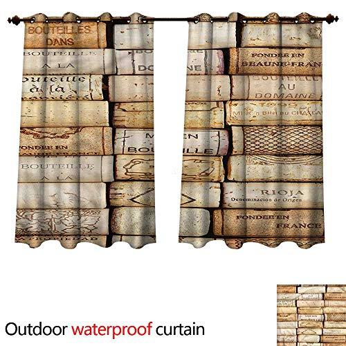 cobeDecor Winery 0utdoor Curtains for Patio Waterproof Wine Corks Aged French Wine W120 x L72(305cm x 183cm)