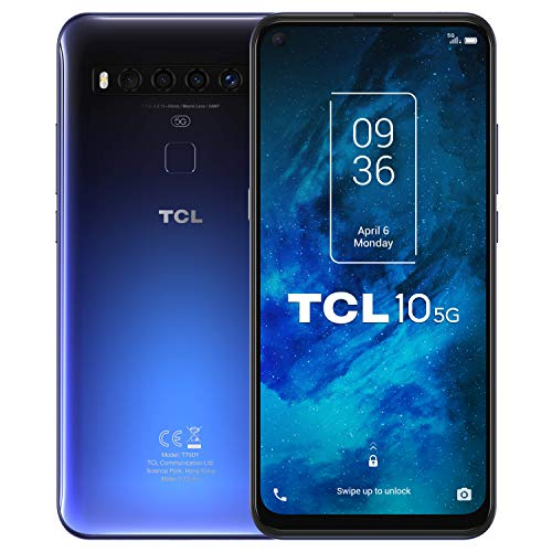 TCL 10 5G – Smartphone de 6.53″ FHD+ con NXTVISION (Qualcomm 765G 5G, 6GB/128GB Ampliable MicroSD, Cámaras de 64MP+8MP+5MP+2MP, Batería 4500mAh, Android 10) Color Azul