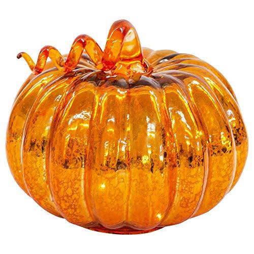 Napco Imports Low Orange Mercury Glass Look LED Light Up 6 x 5.5 Inch Harvest Pumpkin Figurine