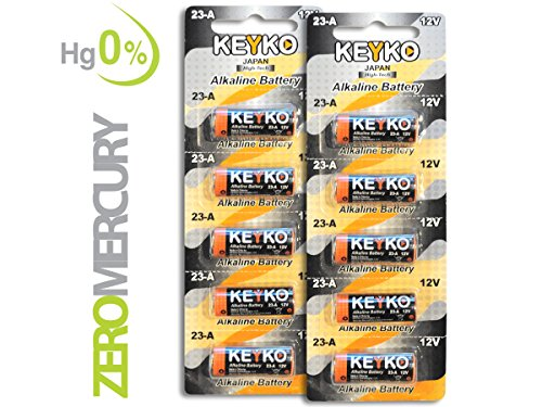 A23 Battery 12V Alkaline 55 mAh - 10-Pcs Pack - for Garage Doors Opener, Ceiling Fans & Wireless Doorbells Remotes - 2 Years Warrantee - Type 12 Volt MN21 23GA 21/23 GP23AE A23G A23S Genuine KEYKO