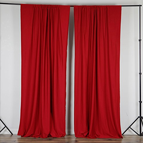 BalsaCircle 10 ft x 10 ft Red Polyester Photography Backdrop Drapes Curtains Panels - Wedding Decorations Home Party Reception ()