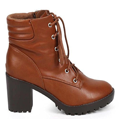 Breckelle's RANGER-21 Women's Basic Block Heel Lace Up Military Ankle Booties, Color Tan, Size:9 (Women Combat Breckelles Boots)
