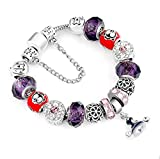 Auch Spooky Halloween Bracelet Glass Bead Silver-Tone Complete Charm Beaded Bracelet Jewelry Gift for Wife Mom Party Supplies