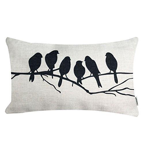- LAZAMYASA Fresh Animal Style Beautiful Rustic Birds Cotton Linen Blend Printed Cushion Cover Cotton Couch Throw Pillow Case Sham Pillowcase 12x20in,Black