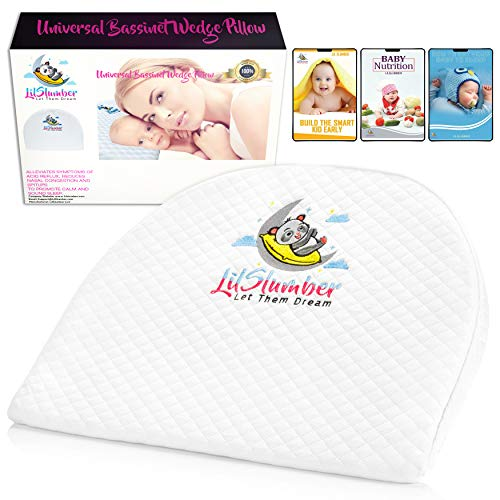- LilSlumber Baby Bassinet and Crib Reflux Wedge Pillow | Infant Sleep Positioner for GERD and Nasal Congestion Relief | Premium Hypoallergenic Cotton and Waterproof Covers | 3 Parenting EBooks