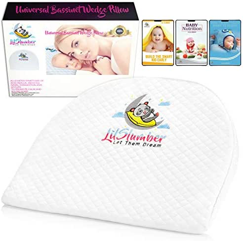LilSlumber Baby Bassinet and Crib Reflux Wedge Pillow   Infant Sleep Positioner for GERD and Nasal Congestion Relief   Premium Hypoallergenic Cotton and Waterproof Covers   3 Parenting EBooks