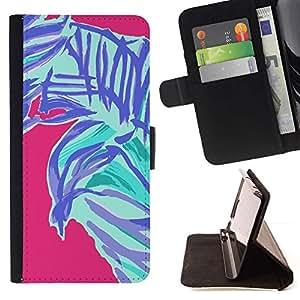 Momo Phone Case / Flip Funda de Cuero Case Cover - Pintura abstracta de Palm Hojas Naturaleza Rosa - Samsung Galaxy Note 5 5th N9200