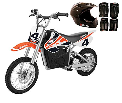 Razor MX650 Electric Dirt Rocket Kids Moto Bike, Orange + Helmet and Pads