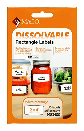 MACO White Dissolvable  Labels, 2 x 4 Inch Rectangle, 36 Per Pack ()
