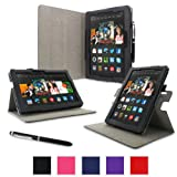 "rooCASE Kindle Fire HDX 8.9"" Dual-View Folio Case Cover - Black (November 2013 Version)"