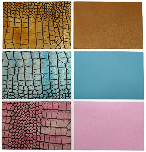 "Upon Leather- 6 Genuine Leather Pieces. Cowhide Embossed Croc Pattern & Matching Plain Colors | 17.7x12.2 cm./ 7""x4.8"" in.