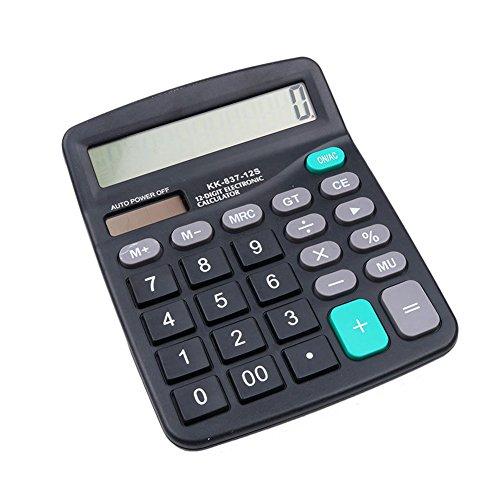 Portable Solar Power 12 Digits Scientific Calculator Student School Study Supply - Black - Supply Power Calculator
