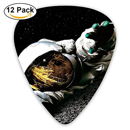 12-pack Fashion Classic Electric Guitar Picks Plectrums Astronaut On The Moon Artistic Instrument Standard Bass Guitarist
