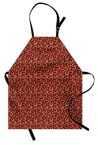 Lunarable Horseshoe Apron, Yellow Toned with Spots Western Style Big and Small Illustration, Unisex Kitchen Bib Apron with Adjustable Neck for Cooking Baking Gardening, Ruby and Pastel Yellow