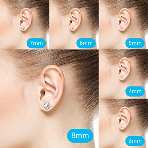 Plated Stainless Princess Cut CZ Stud Earrings Pairs