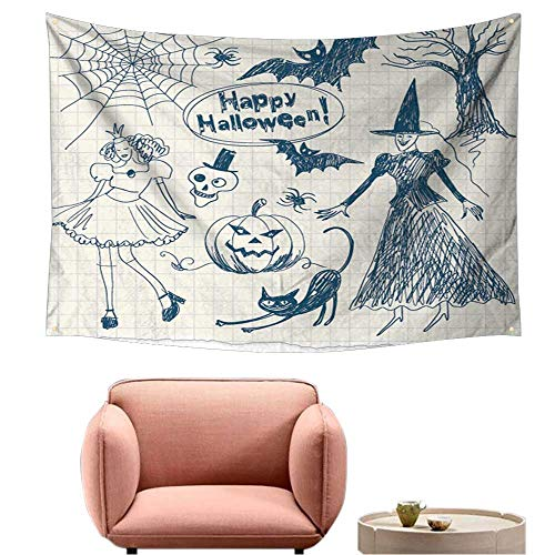 Tapestry for Bedroom Cool Wall Tapestry Halloween Doodles,Hand Drawn 84