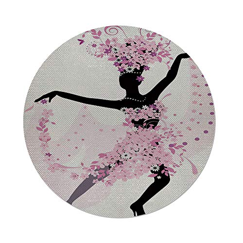 iPrint Cotton Linen Round Tablecloth,Latin,Silhouette of a Woman Dancing Samba Salsa Latin Dances Spain and Mexico Culture Print Decorative,Pink Black,Dining Room Kitchen Table Cloth Cover by iPrint