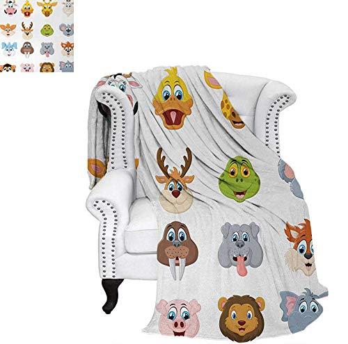 Lightweight Blanket Comic Design of Collection of Smiling Animal Faces Visages Koala Fox Pi Caricature Art Digital Printing Blanket 70