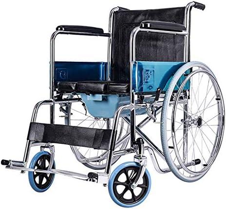 XINGZHE Rollstuhl - Faltbarer Old Man Trolley Tragbarer Multifunktionslederkissen Old Man Scooter mit Multifunktions-WC Gehhilfe
