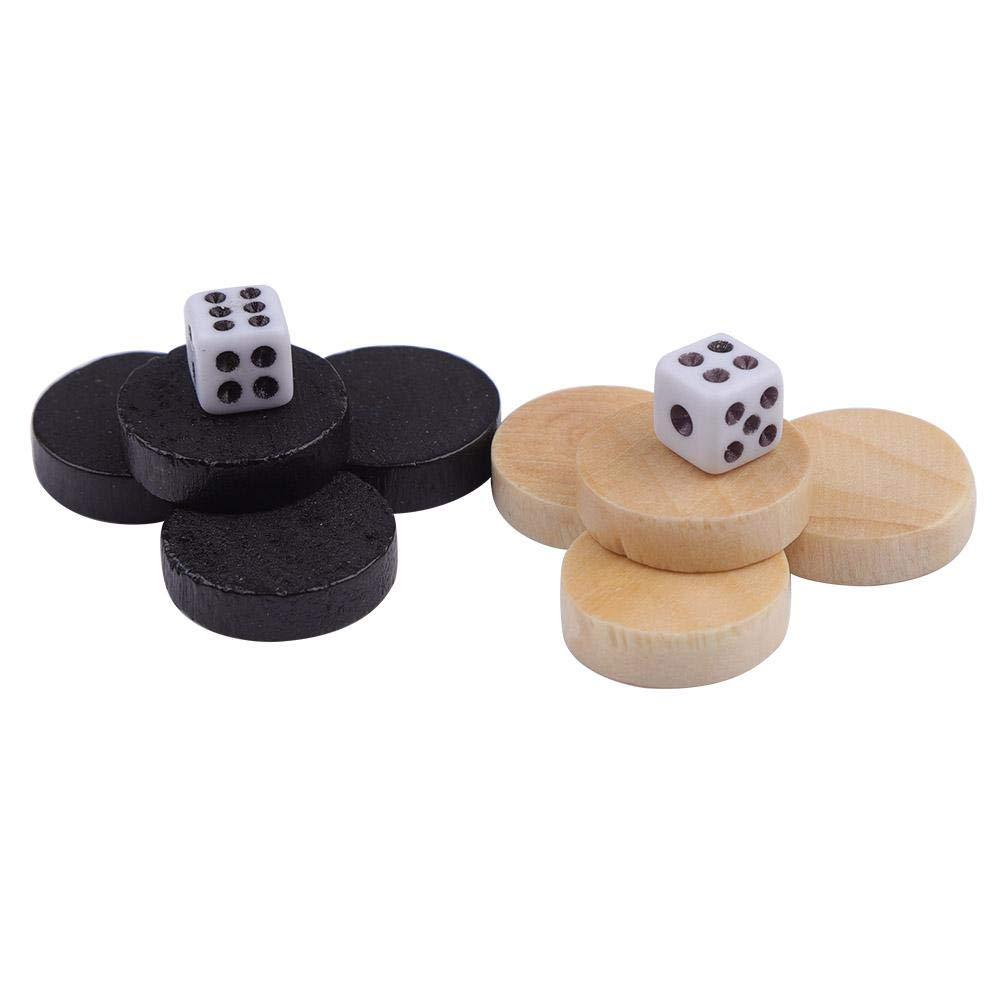 Yonhchop 32pcs Diam/ètre 1.9cm en Bois Backgammon Pi/èces D/échecs Pi/èce Dames pour Enfants Conseil Jeu Apprendre en Plein Air Camping