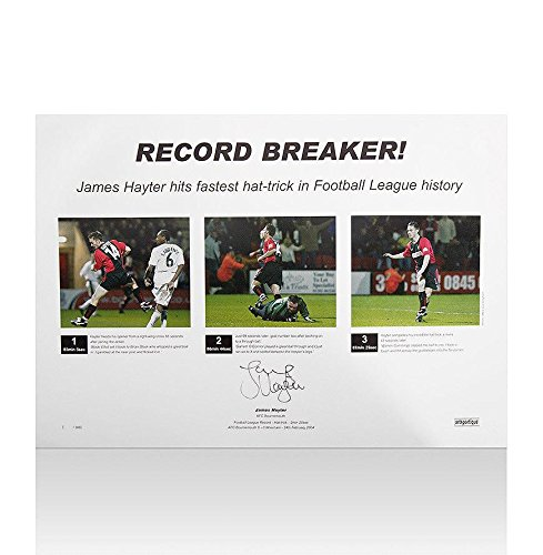 James Hayter Signed Bournemouth Football Bludgeon Print - Record Breaker - Autographed Soccer Photos