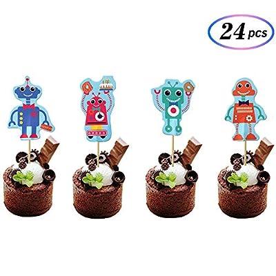 24Pcs Robots Cupcake Toppers - Robot Birthday Party - Baby Birthday Party - Robot Party Decorations -By Maydolbone