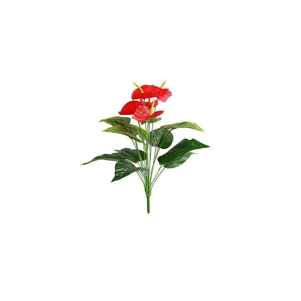 Jasming Artificial Anthurium Faux Christmas Flowers Real Touch Green Leaves Fake Bouquet Plants For Bonsai Garden Decoration Red Silk Flower Arrangements