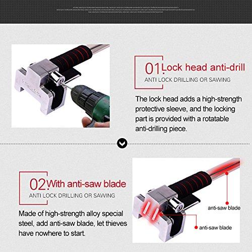 JXHD Car lock, car steering wheel lock Car truck universal Car adjustable anti-theft lock Heavy duty safety hammer Self-defense hand tool with emergency safety hammer by JXHD (Image #6)