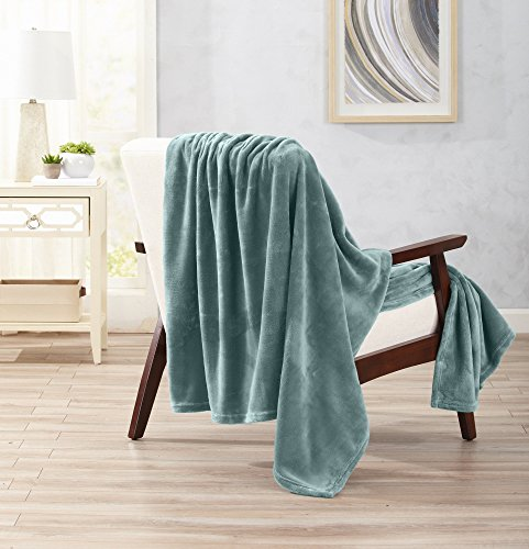 Collection Throw Blanket - Home Fashion Designs Ultra Velvet Plush Super Soft Oversize Throw Blanket. Lightweight, Warm Blanket in Solid Colors. Marlo Collection Brand. (Blue Surf)