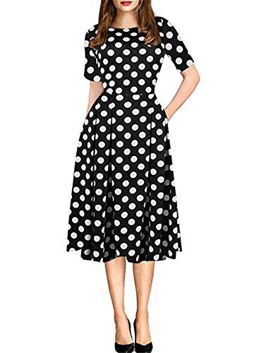 HARHAY Women's Vintage Patchwork Pockets Casual Swing Dress White Dot XL