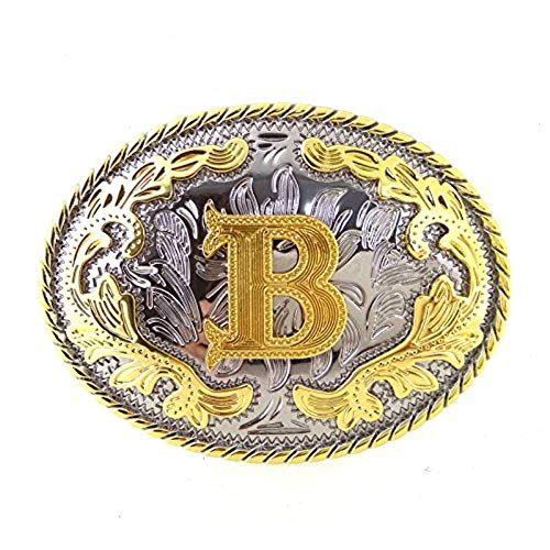 Unisex Adult Alphabet Letter Oval Western Belt Buckle (One Size, Golden(B))