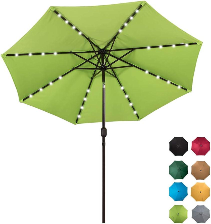 Sundale Outdoor Solar Powered 32 LED Lighted Patio Umbrella Table Market Umbrella with Crank and Push Button Tilt for Garden, Deck, Backyard, Pool, 8 Steel Ribs, 9 Feet, Apple Green
