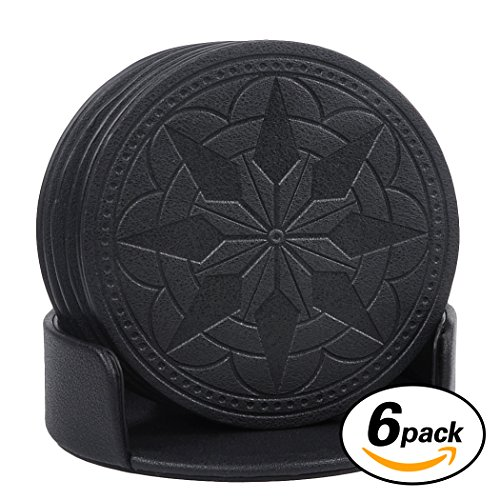 drink-coasters365park-pu-leather-coasters-set-of-6-with-holder-for-glassesgood-grip-deep-trayblack