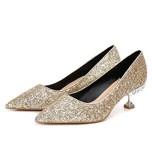 5cm Black Heels Comfort GAOLIXIA 5 Sequins High Banquet Spring Shoes Gold 5 Party Heels Tip Gold5 Gray Silver Women 8 Summer Red amp; Wedding 5cm x8qOwSq