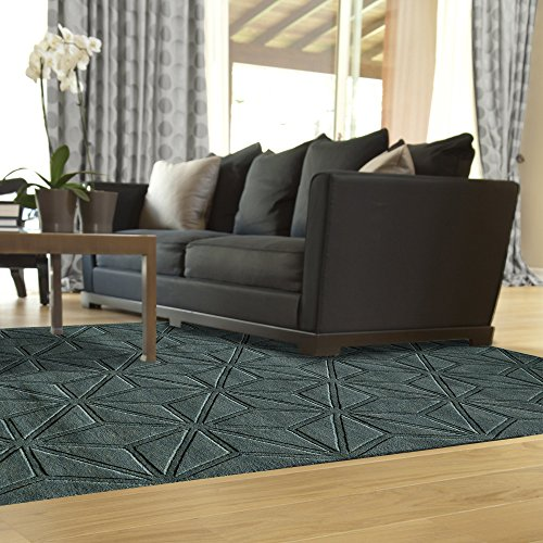 Momeni Rugs Gramercy Collection, 100% Wool Hand Loomed Contemporary Area Rug, 5' x 8', Blue