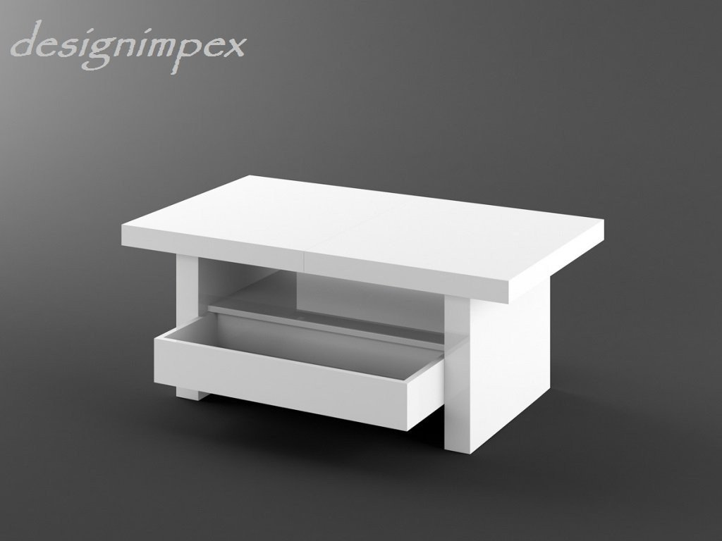 Design Couchtisch H-111 Weiß Hochglanz Schublade höhenverstellbar ...