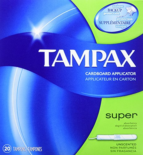 Tampax Cardboard Tampons (Tampax Cardboard Applicator Tampons, Super Absorbency, Unscented, 20 Count - Pack of 4 (80 Total Count))