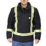 Carhartt Men's 101695 Flame-Resistant Striped Duck Traditional Coat - Quilt Lin - Small - Black