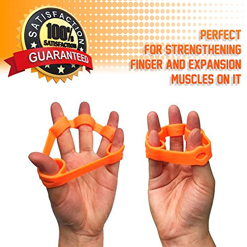 LIVV FITNESS Premium Finger Stretcher and Grip Strength Trainer Kit - Strengthens Fingers, Forearm, Wrist and Grip - 3 Level Finger Resistance Bands and Hand Grip Workout Rings with Carry Bag (6 Pack) by LIVV FITNESS (Image #6)
