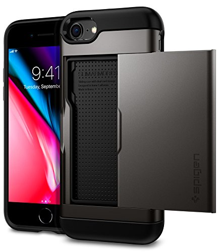 Spigen Slim Armor CS iPhone 7 Case / iPhone 8 Case with Slim Dual Layer Wallet Design and Card Slot Holder for Apple iPhone 7 (2016) / iPhone 8 (2017) - Gunmetal