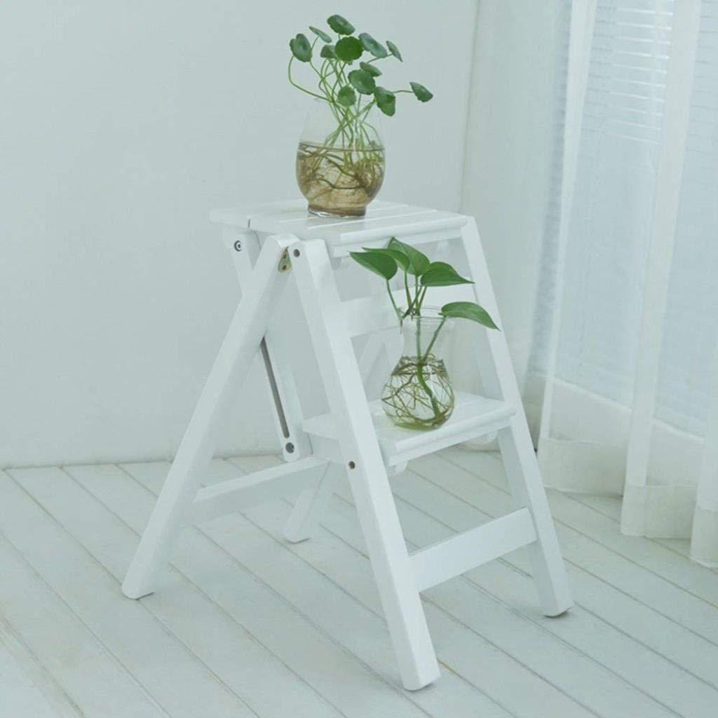 家庭用多機能折りたたみはしごホーム肥厚クリエイティブスツール屋内クライミングステップスツールデュアルユース純木38×46×50 cm ZHHCP (Color : White) B07S3RQNJZ White
