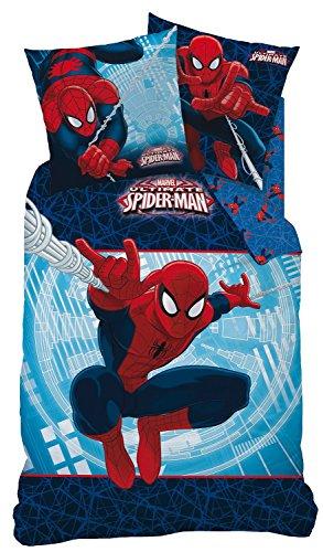Spiderman Wende Bettwäsche Set 135x200c 80x80cm, Biber/Flanell, 100% Baumwolle, Action 042935