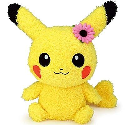 "Sekiguchi Pokémon Female Pikachu with Flower MokoMoko Plush Series, 9"": Toys & Games"