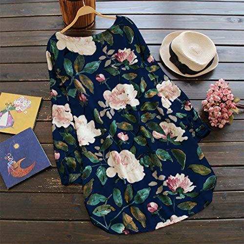Azul Estampado Mujeres Extra De Vestido Vjgoal Grande Larga Fiesta Exquisito Verano Del Clásico Manga Largo Floral Tamaño Las Dulce 66rUPSWyK