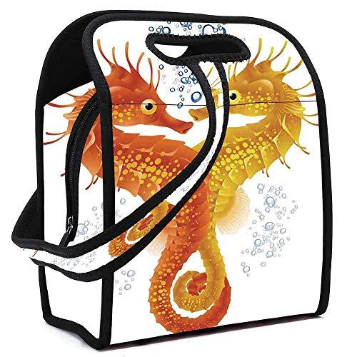 Tropical Animals Lightweight Neoprene Lunch Bag,Neon Koi Fish Pair Swimming in the Sea Aqua Fauna Tropic Environment Picture for Kids Nurse Teacher Outdoor,Square(8.5''L x 5.5''W x - Koi Neon