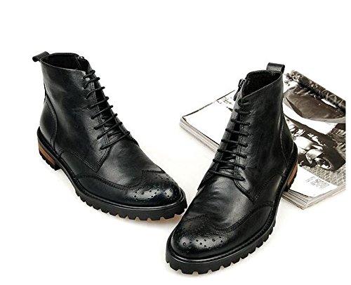Happyshop (tm) Mode Leren Veter Militaire Laarzen Ronde Neus Heren Enkellaarsjes Chukkaslaarzen Zwart