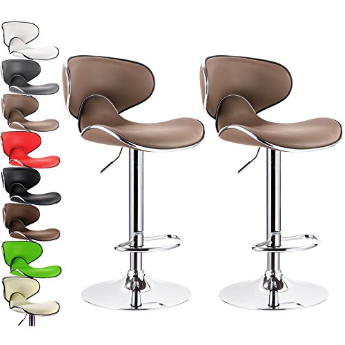 WOLTU New Modern Light Brown Bar Stools Adjustable Synthetic Leather Swivel Hydraulic Kitchen Stools Chairs Set of 2