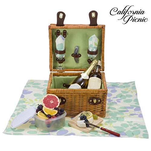 Picnic Basket Set DELUXE | Breeze Collection | 2 Person Wine and Cheese Service Set | Picnic Hamper Set FREE Picnic Tablecloth | Stainless Steel Wine Opener Corkscrew | Wood (Picnic Hamper Set)