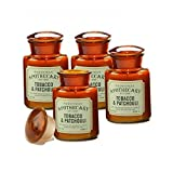 Paddywax Candles Apothecary Collection Jar Candle, 8-Ounce, Tobacco and Patchouli - Set of 4