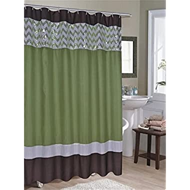 Ruthy's Textile Sequin Shower Curtain 70  X 72  w/ Roller Hooks (Green)